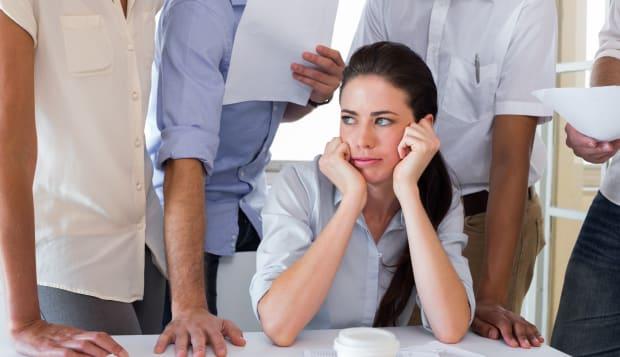 worried businesswoman...