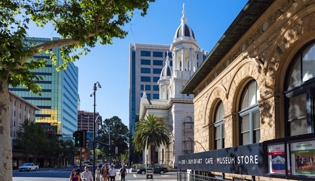 The Cathedral and Museum of Art on Market Street in downtown San Jose, Santa Clara County, California, USA