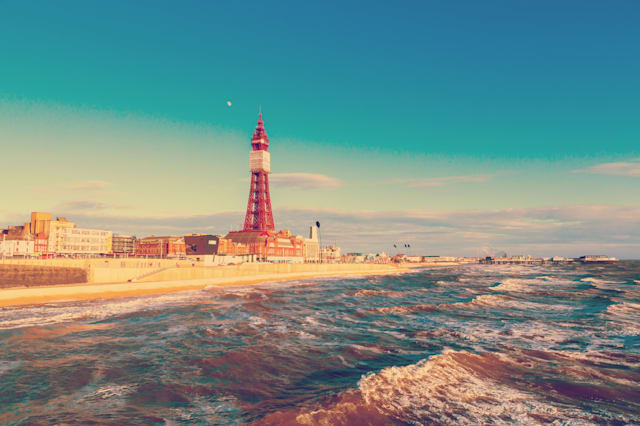 Retro Photo Filter Effect Blackpool Tower, from the North Pier, Lancashire, England, UK