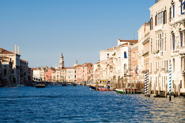 view of grand canal from boat in venice