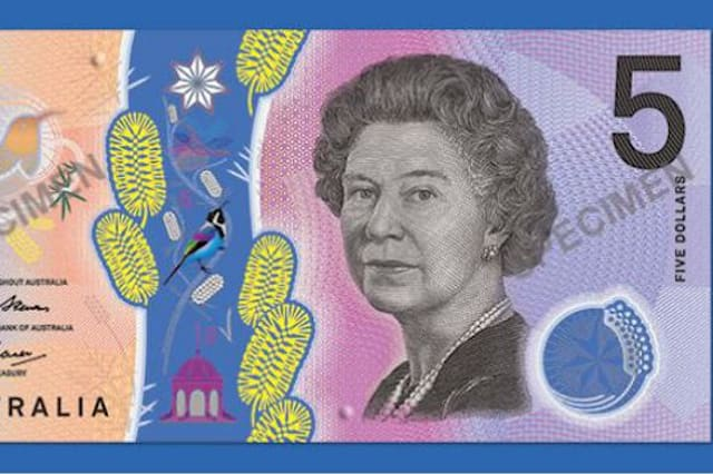The Queen's portrait on the $5 note.