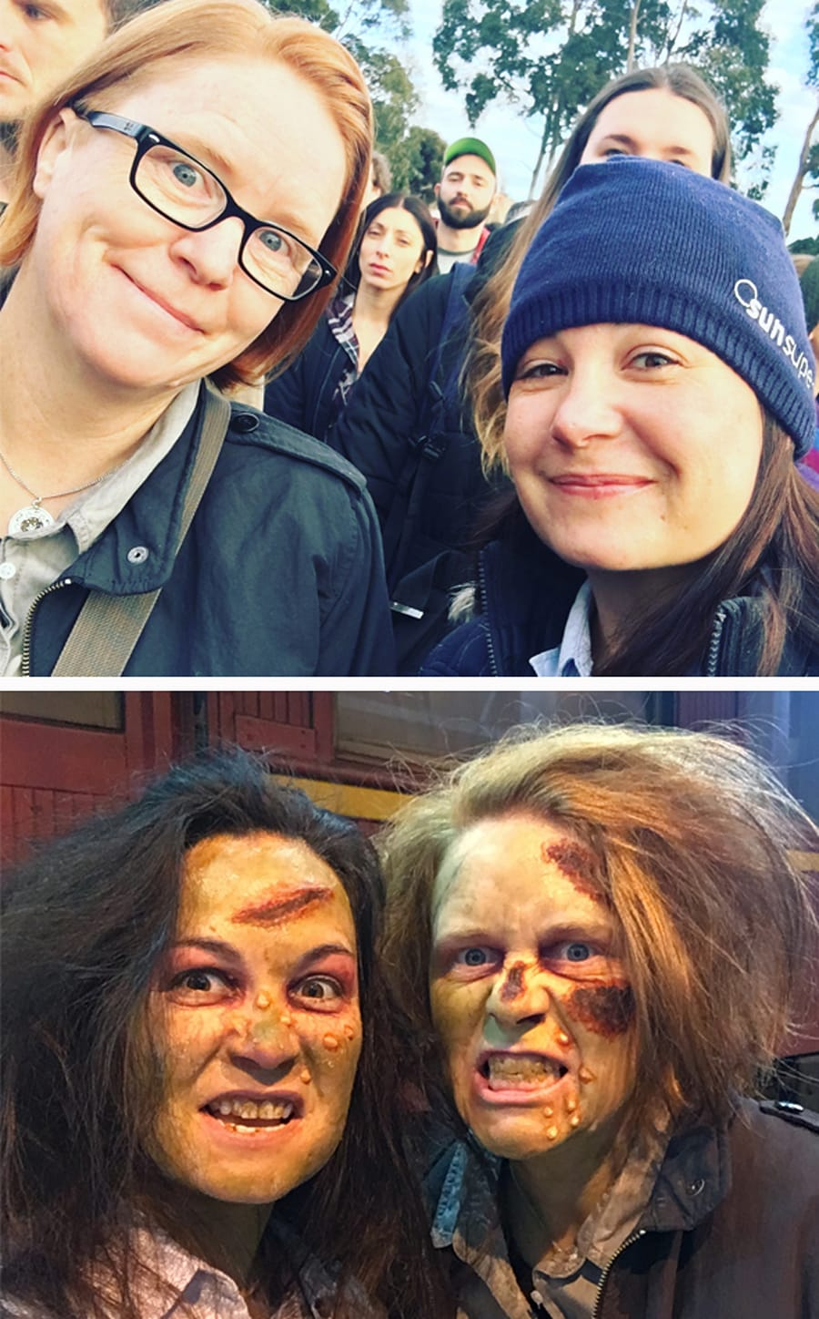 Before and after: the makeup techs on set worked tirelessly to transform hundreds of extras into the