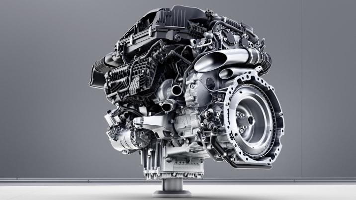 Mercedes-Benz Sechszylinder-Benzinmotor M256 ;  Mercedes-Benz six-cylinder engine M256. Engine cross section;