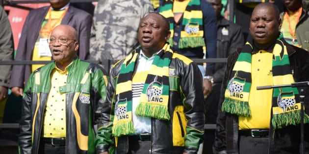 ANC President Jacob Zuma, Cyril Ramaphosa and Zweli Mkhize during the African National Congress (ANC)...