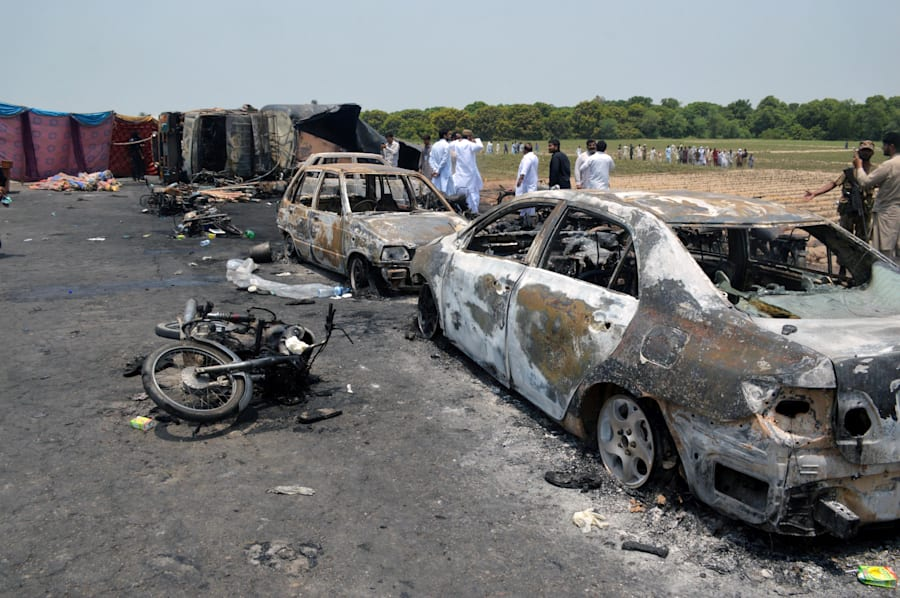 Various vehicles were burnt out during the