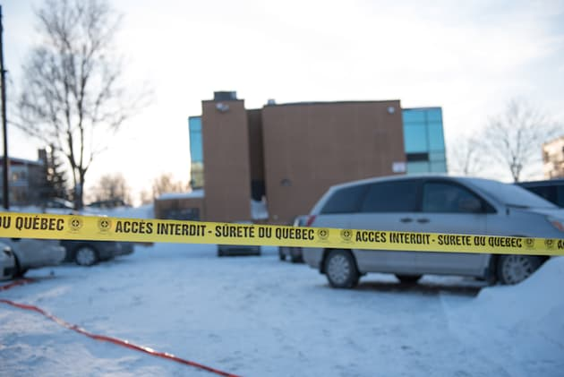 Police perimeter at the parking lot at the Islamic Cultural Centre in Quebec City in