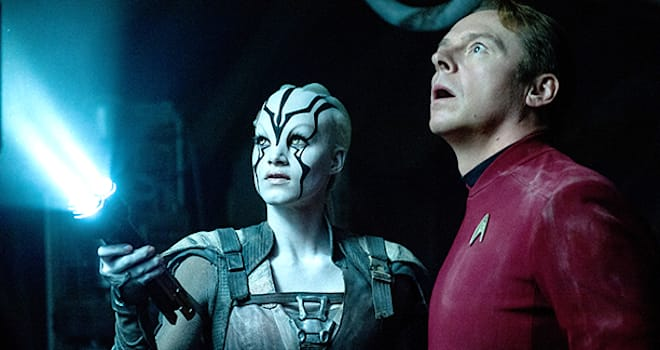 Star Trek Beyond†(2016)Left to right: Sofia Boutella (plays Jaylah) and Simon Pegg (plays Scotty)