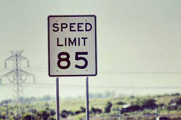 85-mph speed limit sign