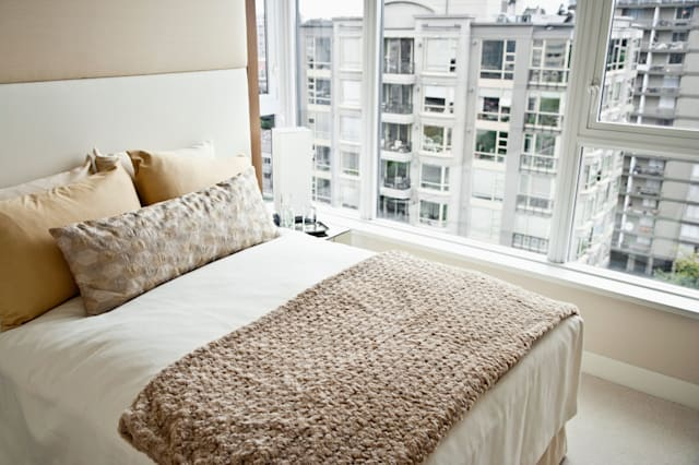 BHBB14 Soft bed beside large windows in bedroom Soft|bed|large|windows|bedroom; |Comfortable|Minimalist|Light; brown|Neutral; co