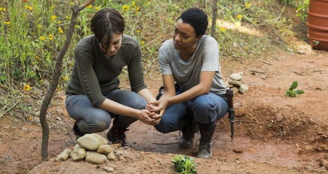 Lauren Cohan as Maggie Greene, Sonequa Martin-Green as Sasha Williams- The Walking Dead _ Season 7, Episode 5 - Photo Credit: Gene Page/AMC