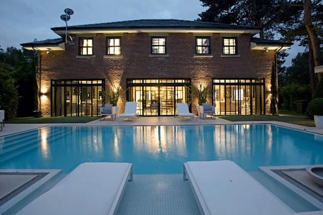 The pool, lit up at night