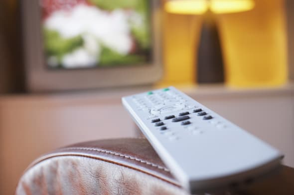 remote control on leather...