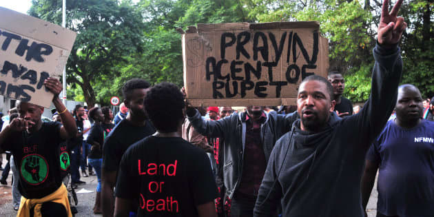 JOHANNESBURG, SOUTH AFRICA – APRIL 07: A small group of pro-Zuma members from Black Land First (BLF)...