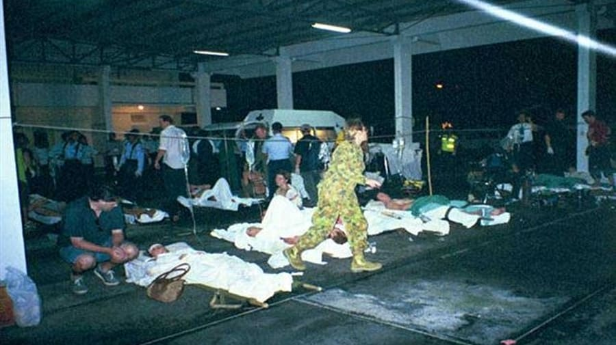 Casualties were taken to the airport while a military aircraft was