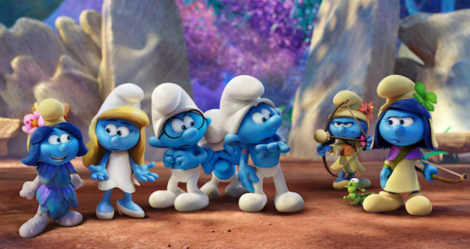Smurfblossom (Ellie Kemper), Smurfette (Demi Lovato), Brainy (Dany Pudi), Clumsy (Jack McBrayer), Hefty (Joe Manganiello), Smurflily (Ariel Winter) and Smufstorm (Michelle Rodriguez) in Columbia Pictures and Sony Pictures Animation's SMURFS: THE LOST VILLAGE.