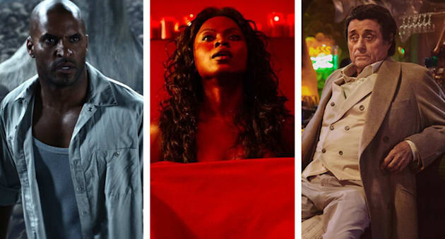 Ricky Whittle as Shadow Moon, Yetide Badaki as Bilquis and Ian McShane as Mr Wednesday in Starz's upcoming...