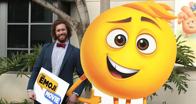 "T.J. Miller seen at the ""The Emoji Movie"" photo call at Sony Pictures Animation slate presentation on Wednesday, Jan. 18, 2017, in Culver City, Calif."