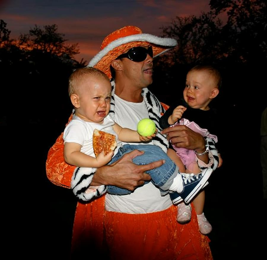 supplied the vandekreeke twins favourite uncle dressed for halloween as a mack daddy pimp and took his niece nephew to the streets