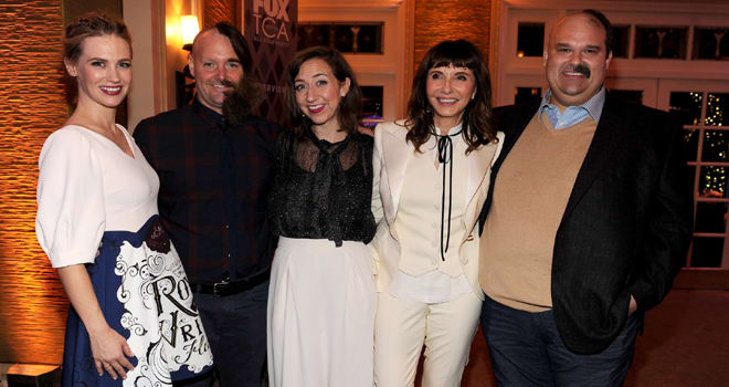 2016 FOX WINTER TCA: L-R: January Jones, Will Forte, Kristen Schaal, Mary Steenburgen and Mel Rodriguez celebrate the WINTER ALL-STAR PARTY during the 2016 FOX WINTER TCA at the Langham Hotel, Friday, Jan. 15 in Pasadena, CA. CR: Frank Micelotta/FOX