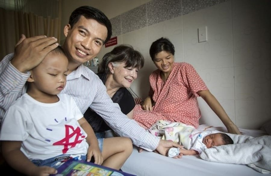 Gabi Hollows with Giap and his family in
