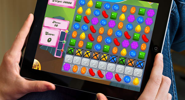The popular game, Candy Crush Saga, played on an Apple iPad