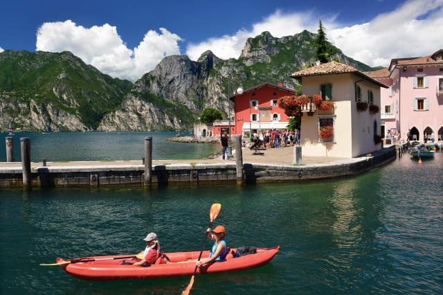 Canoeists. Torbole. Lake Garda.Italy.