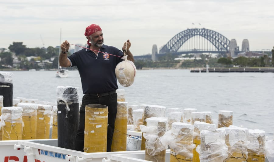 Fortunato Foti, Sydney's NYE fireworks director from Foti Fireworks holds one of the shells on December...