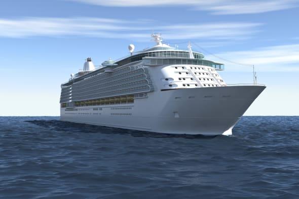 Cruise ship framed during the navigation; 3D render.