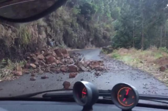 Tourists dodge falling rocks and trees in Madeira