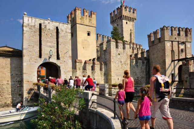 13th.Century gateway and Castle.  Sirmione,Lake Garda.Italy.