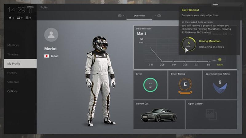 Gran Turismo Sport Beta driver profile