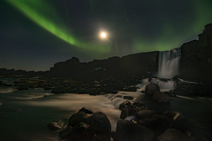 The Northern Lights are often visible at Thingvellir National Park from April through to August each