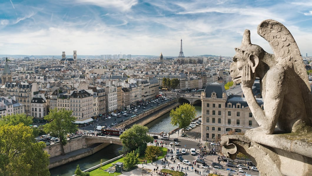 Gargoyle and wide city view from the roof of Notre