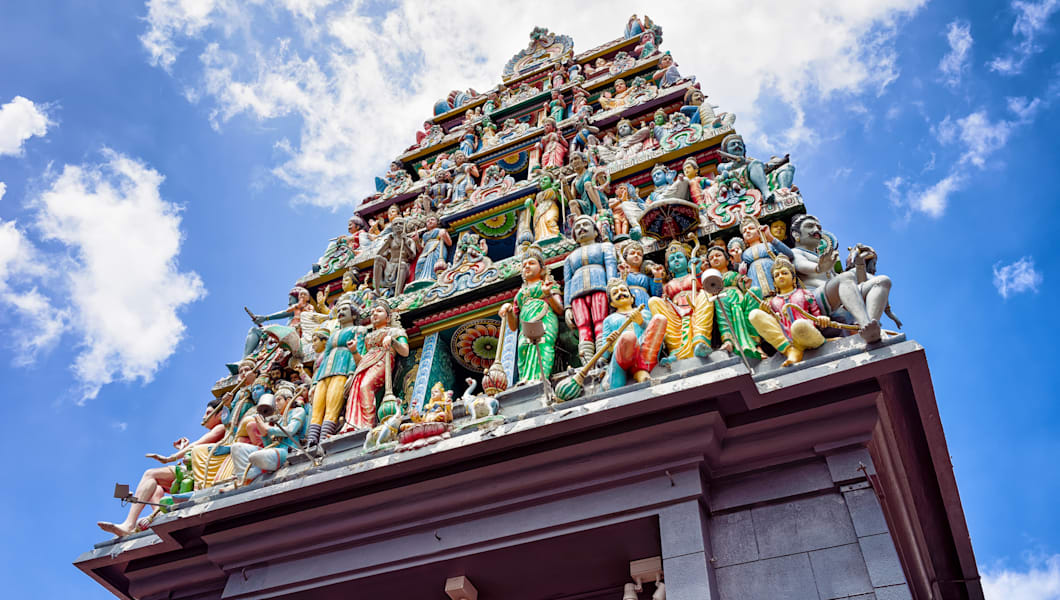 Fragment of decoration in Sri Mariamman Temple in Singapore