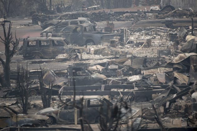 The area of Boston Flats, B.C. is pictured Tuesday after a wildfire ripped through the area earlier in...