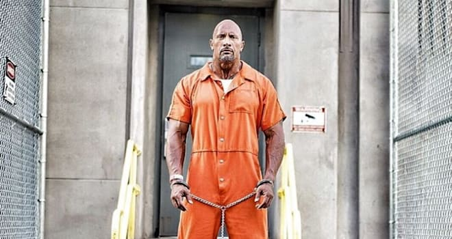fast 8, set photo, dwayne johnson, the rock, hobbs, jail, prison