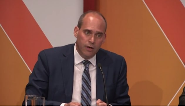 Guy Caron participates at the NDP leadership debate in Saskatoon on
