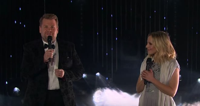 Watch Kristen Bell and James Corden's Duet Fail to Get Off the Ground