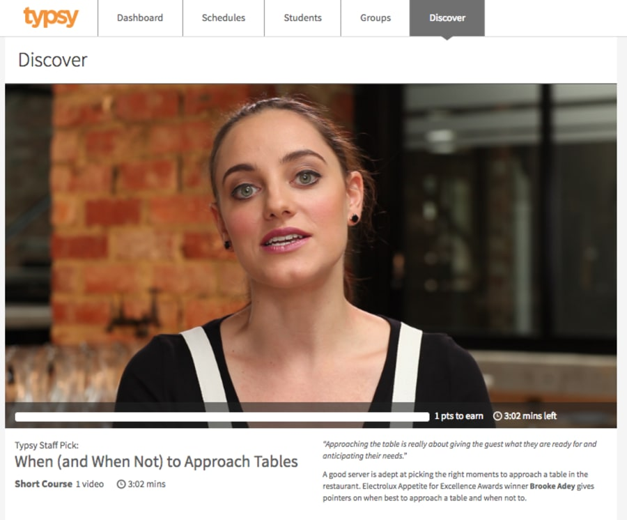 Typsy features online training courses to help those in the hospitality industry