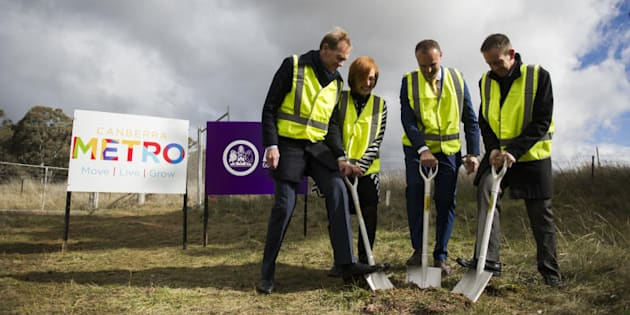News ACT Ministers Simon Corbell, Meegan Fitzharris, Andrew Barr, and Shane Rattenbury turn the first...