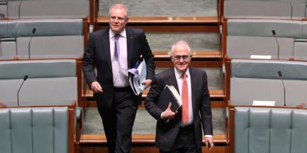 Prime Minister Malcolm Turnbull and Treasurer Scott Morrison enter the House at Parliament