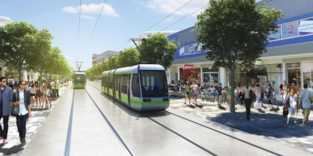 An artistic rendering of who the light rail is expected to look in