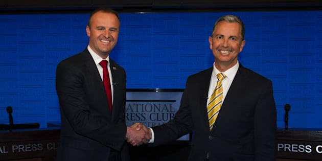 ACT Chief Minister Andrew Barr and Opposition Leader Jeremy Hanson at the ACT leadership