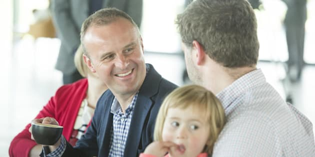 ACT Chief Minister Andrew Barr spends some time with his