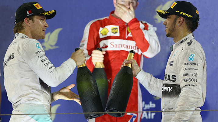 The podium celebrations at the 2015 Bahrain F1 Grand Prix.