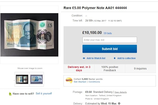 The eBay listing for the £5 note