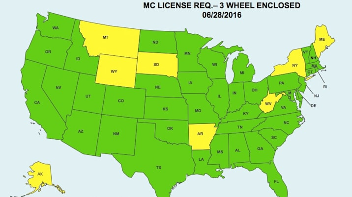 elio motorcycle license map