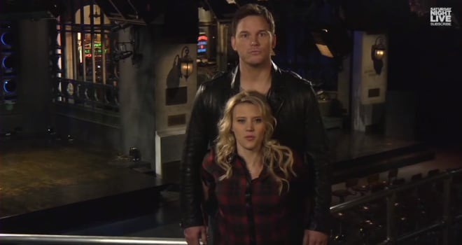 Chris Pratt and Kate McKinnon on Saturday Night Live