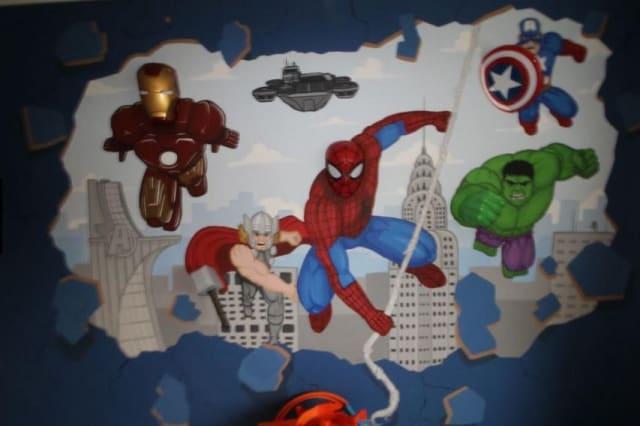 The superhero mural
