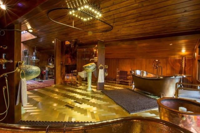 The chalet's golden bathroom.